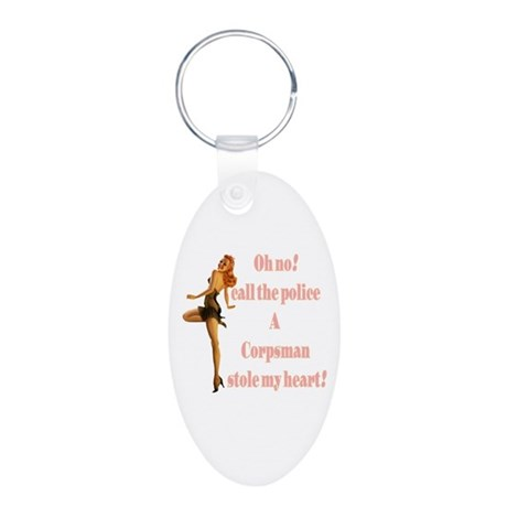 oh no corpsman Aluminum Oval Keychain