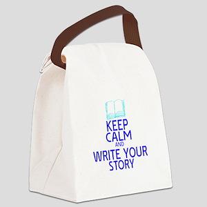 Keep Calm Write Story Canvas Lunch Bag