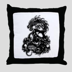Dragon-N-Skulls Throw Pillow