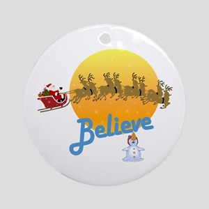 Funny Christmas I Believe Ornament (Round)