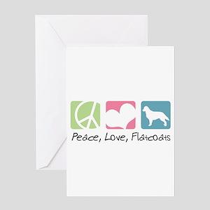 Peace, Love, Flatcoats Greeting Card