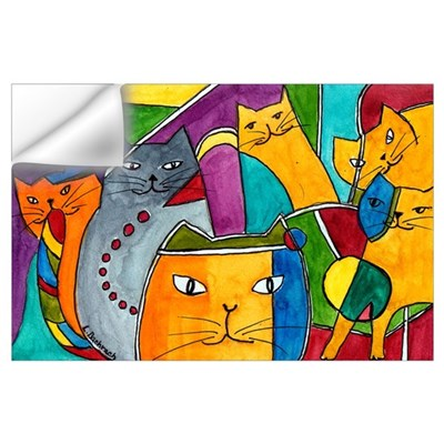 Stained Glass Cats Wall Decal