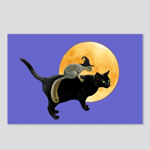 Witch Squirrel Cat Blue Postcards (Package of 8)