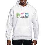 Peace, Love, Great Pyrenees Hooded Sweatshirt