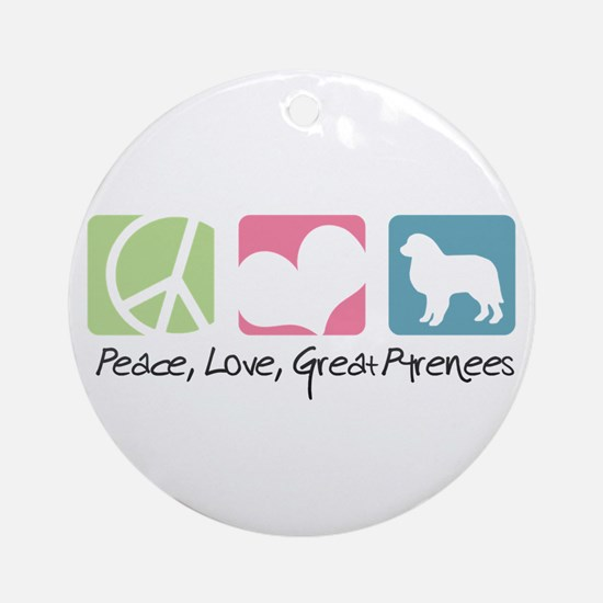 Peace, Love, Great Pyrenees Ornament (Round)