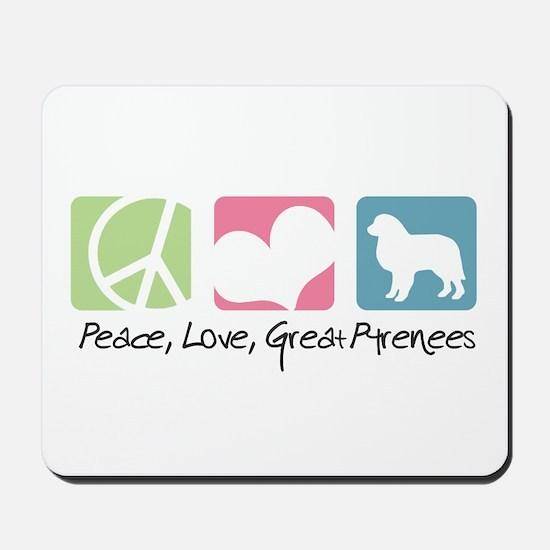 Peace, Love, Great Pyrenees Mousepad