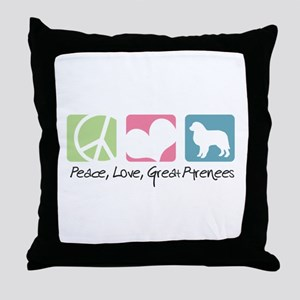 Peace, Love, Great Pyrenees Throw Pillow