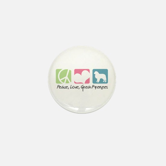 Peace, Love, Great Pyrenees Mini Button