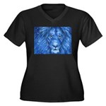 Winter Lion Women's Plus Size V-Neck Dark T-Shirt
