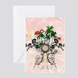 Wonderful summer design with palm trees and pelica