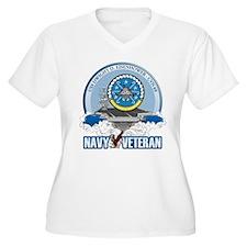 CVN-69 USS Eisenhower Women's Plus Size V-Neck T-S