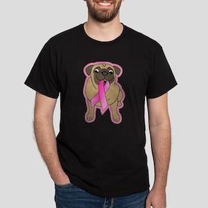 Pink Ribbon Fawn Pug Dark T-Shirt