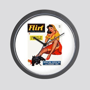 Flirt Vintage Girl and Dog Cover Wall Clock
