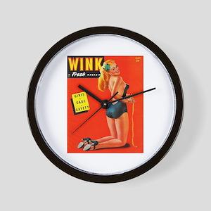 Wink Vintage Blonde in Black Cover Wall Clock