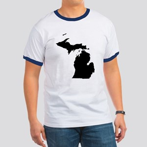 Michigan Map Ringer T-Shirt