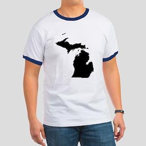 Michigan Map Ringer T-Shirt