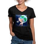 Atlas' Shoelace Proble Women's V-Neck Dark T-Shirt