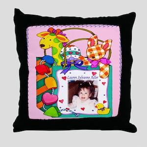 Girl's Personalized Giraffe Throw Pillow - Custom