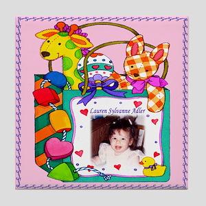Girl's Personalized Giraffe Tile Coaster - Custom