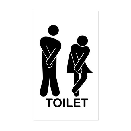 Funny Toilet Sign Sticker (Rectangle)