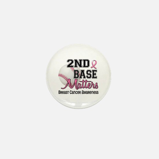 Second 2nd Base Breast Cancer Mini Button