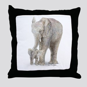 Mother and baby elephant Throw Pillow