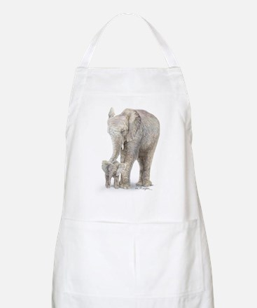 Mother and baby elephant Apron