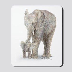 Mother and baby elephant Mousepad