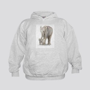 Mother and baby elephant Kids Hoodie