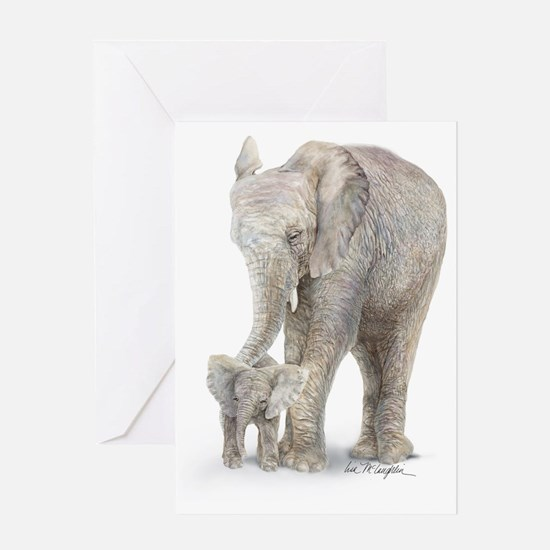 Mother and baby elephant Greeting Card