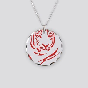 Red Tiger Necklace Circle Charm