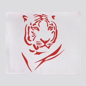 Red Tiger Throw Blanket