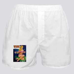 Wink Hot Blonde Girl in Pink Boxer Shorts