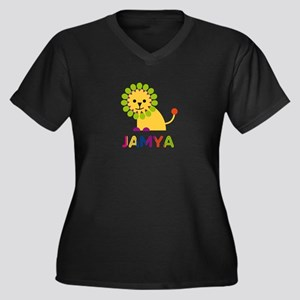 Jamya the Lion Women's Plus Size V-Neck Dark T-Shi