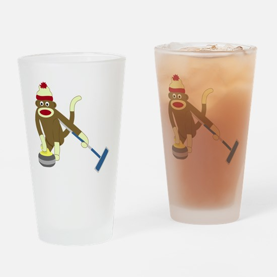 Sock Monkey Olympic Curling Drinking Glass