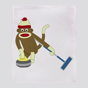 Sock Monkey Olympic Curling Throw Blanket