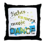 Lights Camera Music Dance Throw Pillow