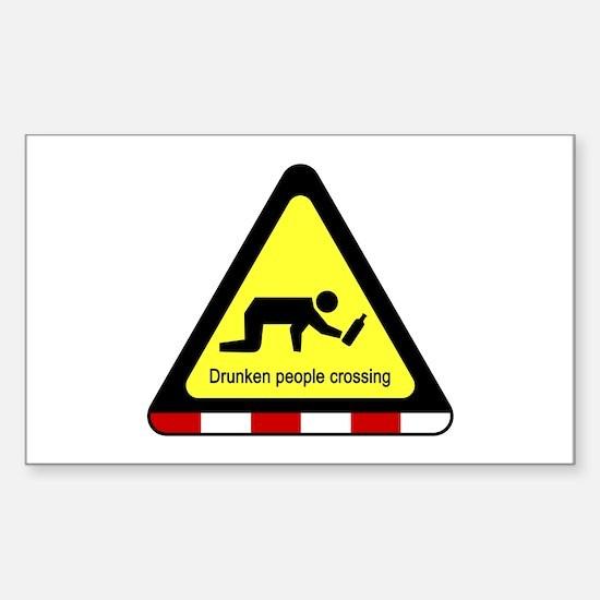 Drunken people crossing Sign Sticker (Rectangle)