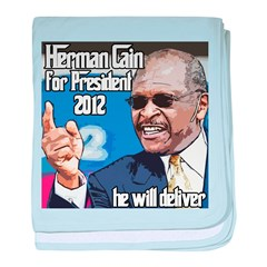 Herman Cain 2012 Election Pre baby blanket
