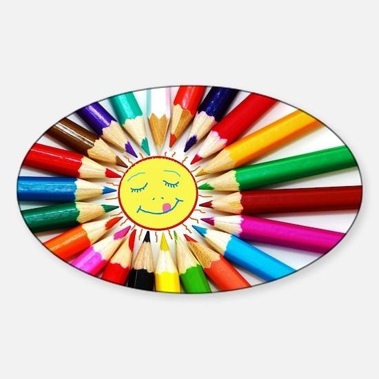 Cute Smiling sun Sticker (Oval)