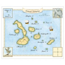 Galapagos Archipelago Map Poster