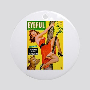 Eyeful Beauty Girl in Tree Cover Ornament (Round)