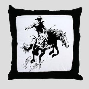 B/W Bronco Throw Pillow