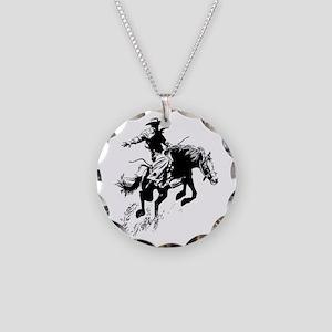 B/W Bronco Necklace Circle Charm