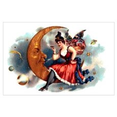 Butterfly Lady on Moon Big 11x17 Print Poster