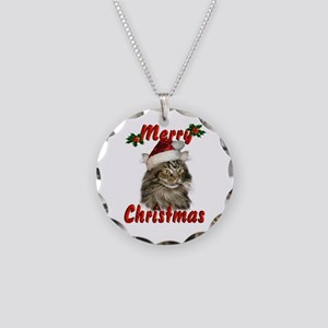 Christmas Maine Coon Cat Necklace Circle Charm