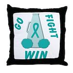 Teal WIN Ribbon Throw Pillow