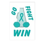 Teal WIN Ribbon Postcards (Package of 8)