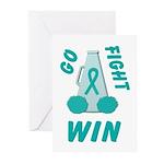Teal WIN Ribbon Greeting Cards (Pk of 10)