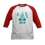 Teal WIN Ribbon Kids Baseball Jersey